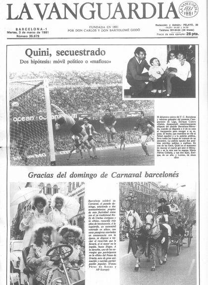 Portada de 'La Vanguardia' de l'1 de març de 1981