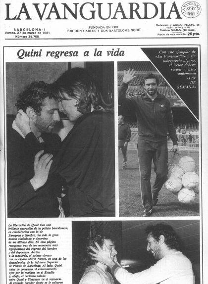 Portada de 'La Vanguardia' del 27 de març del 1981, després de l'alliberament de Quini