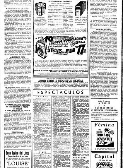 Cartellera de 'La Vanguardia' del 17 de març del 1938