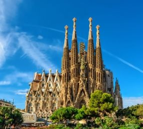 Vista frontal de la Sagrada Família