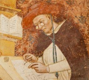 Llenç del cardenal Hug de Provença amb ulleres, fet per Tommaso da Modena l'any 1352