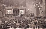 Dibuix de Jaume Pahissa de la reunió en què es van presentar les Bases de Manresa