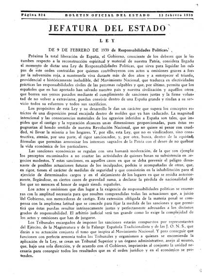 Primera pàgina de la llei de 'Responsabilidades Políticas' publicada al BOE del 13 de febrer de 1939