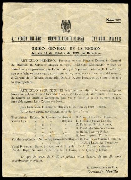 Document de l'Exèrcit on es fixa la data (14 d'octubre) i l'hora (les 10 h) per a la causa 23.468, o sigui, el consell de guerra contra Lluís Companys