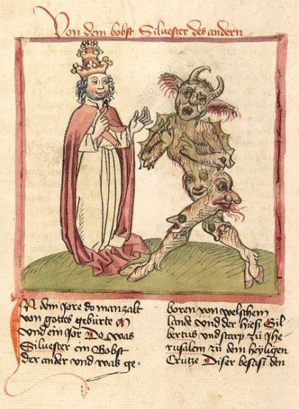 Il·lustració del papa Silvestre II i el dimoni