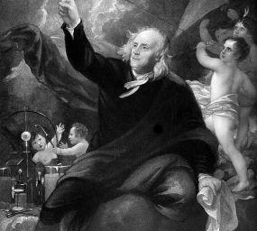 Retrat de Benjamin Franklin amb el seu estel