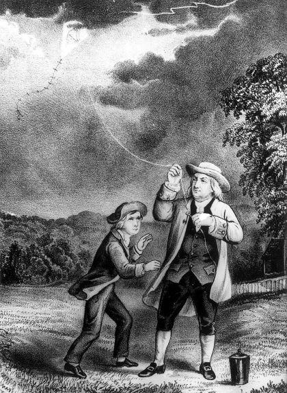 Benjamin Franklin amb el seu estel i el seu fill
