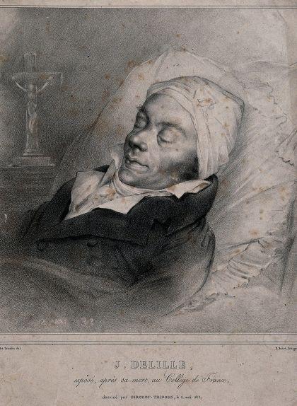 Litografia de Jacques Delille després de la seva mort al Collège de France, a París
