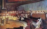 Representació d'una reunió del Senat romà, en la qual Ciceró critica el polític Catilina. Fresc del segle XIX, pintat per Cesare Maccari