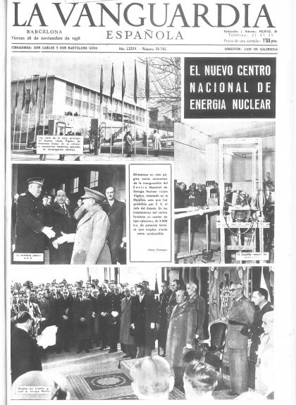 Portada de 'La Vanguardia' del 28 de novembre del 1958, un dia després de la inauguració del Centre Nacional d'Energia Nuclear Juan Vigón