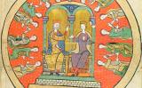 Una de les il·lustracions del 'Liber feudorum maior' que representa el rei Alfons el Trobador amb Sança de Castella