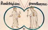 Representació del matrimoni de Ramon Berenguer IV i Perenolla d'Aragó al rotlle genealògic de Poblet