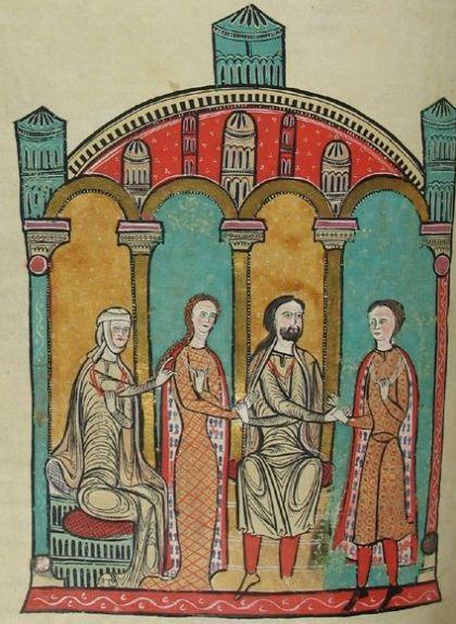 Bernard Anton de Beziers, assegut, donant la mà de la seva filla Ermengarda al futur Gausfred III de Rosselló