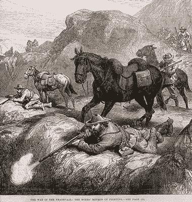 Il·lustració 'El mètode de lluita dels bòers' publicada al setmanari anglès 'The Illustrated Londo News' el 1881