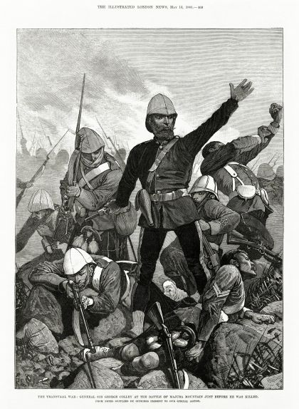 El general britànic George Colley a la batalla de Majuba Hill just abans de morir, en una il·lustració publicada al 'The Illustrated London News' el 1881