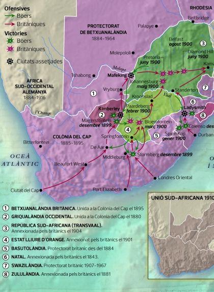 Mapa de la segona guerra dels bòers