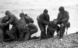 Soldats ferits a la platja d'Utah durant el desembarcament de Normandia