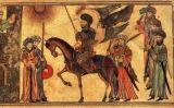 Mahoma, a cavall, rebent la submissió dels Banu n-Nadir