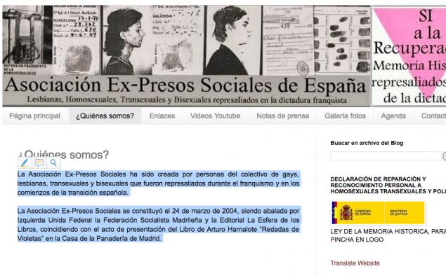 Captura de la página web de la asociación Ex-Presos sociales de España