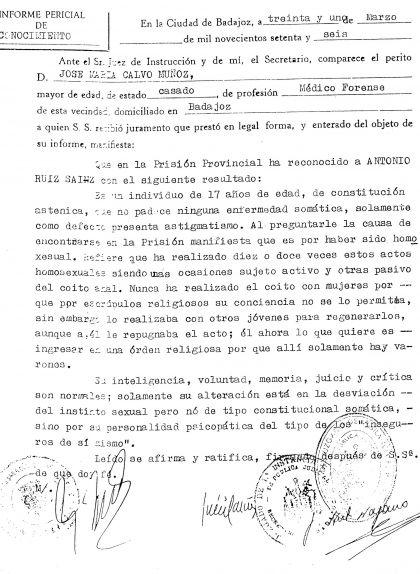 """Informe d'Antoni Ruiz. S'hi deia: """"Su alteración está en la desviación del instinto sexual pero no de tipo constitucional somática, sino por su personalidad psicopática del tipo de los inseguros de si mismo"""""""