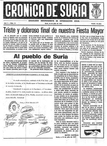 Notícia al 'Crónica de Suria' sobre la mort de Roque Peralta