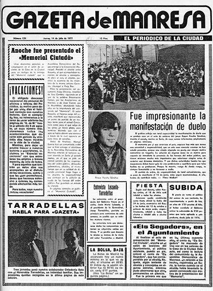 Notícia sobre les protestes per la mort de Roque Peralta a la 'Gazeta de Manresa'