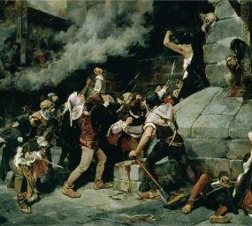 El quadre de Vicente Cutanda 'Als peus del Salvador' (1887) recrea una matança de jueus en temps medievals