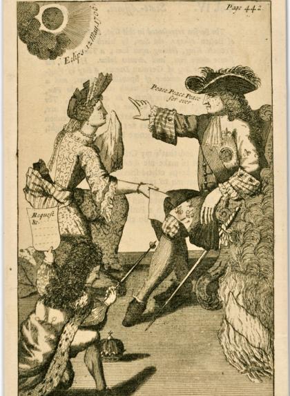 Imatge satírica relacionada amb el fracàs del setge borbònic de Barcelona del 1706 amb referència a l'eclipsi de sol d'aquell any