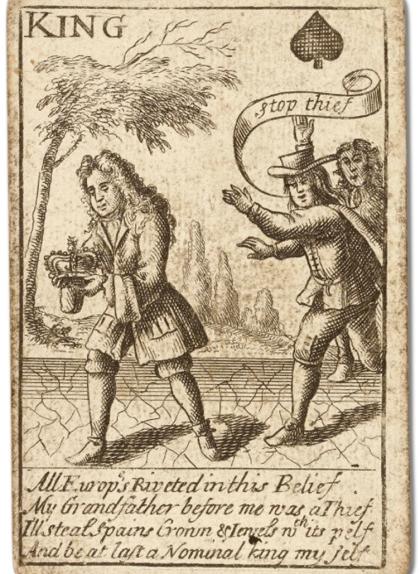Imatge en què el rei de piques és una imatge de Felip V que fuig corrents amb la corona robada