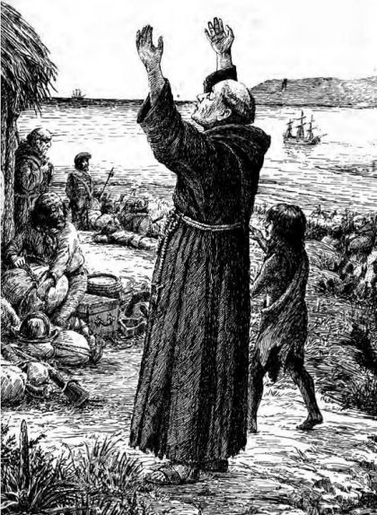 Juníper Serra dóna gràcies per l'arribada del vaixell 'San Antonio' al port de Santiago el 19 de març del 1770
