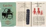A l'esquerra, portada del primer número de 'Gestos', un dels quaderns fets pels alumnes de Benaiges el 1935. A la dreta, pàgina interior d'un dels quaderns