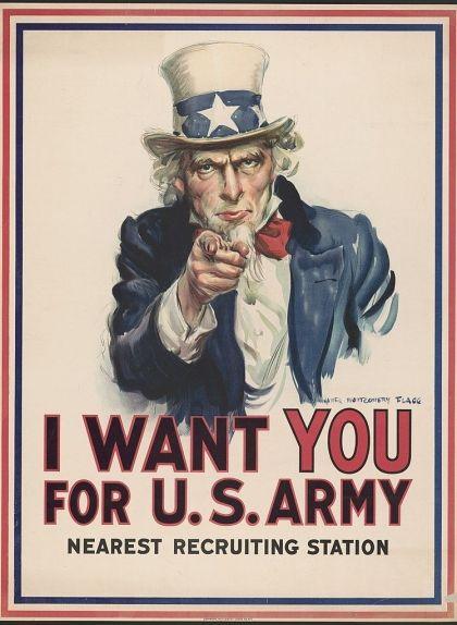 Cartell del 1916 amb la imatge de l'Oncle Sam demanant l'allistament per a la Primera Guerra Mundial