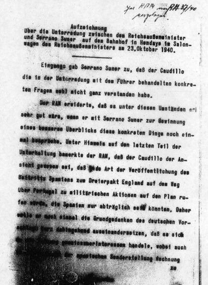 Primera pàgina del segon document dels 'papers d'Hendaia'. Aquest tracta de la trobada entre Ribbentrop i Serrano Suñer