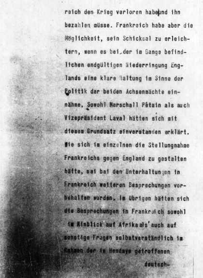 Segona pàgina del telegrama que Ribbentrop va adreçar a l'ambaixador alemany a Madrid
