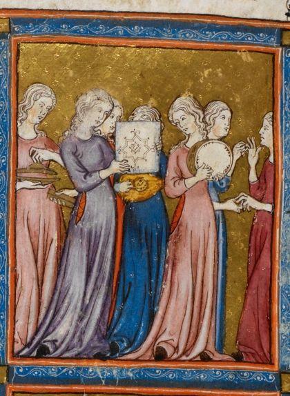 Il·lustració inclosa al manuscrit 'Hagadà Daurada de Barcelona, del 1320, en què es veuen Míriam i les dones jueves celebrant haver creuat el mar Roig