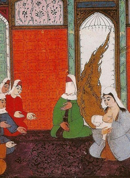 Halima, dida de Mahoma, donant el pit al nen orfe