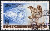 Segell romanès del 1957 amb la gossa Laika