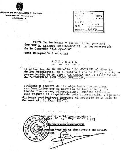 Autorització del Ministerio de Cultura per a la representació de 'La torna' al teatre Circo d'Alcoi el 20 de setembre del 1975