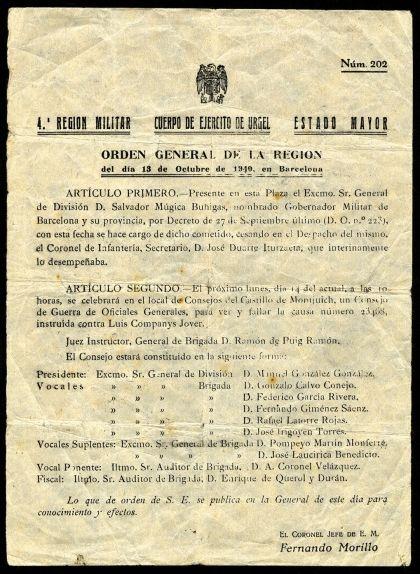 'Orden General de la IV Región Militar' en què s'anuncia la celebració del consell de guerra contra Companys