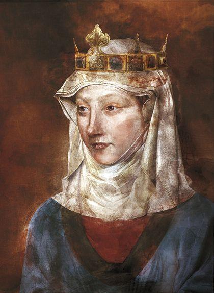 Retrat de Blanca d'Anjou fet per a SÀPIENS per l'il·lustrador Leo Flores