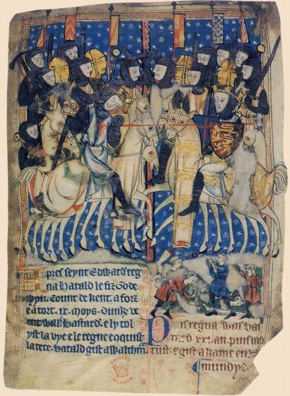 Manuscrit del segle XIII en què es veu Guillem de Normandia ferint el rei anglès Harold Godwinson a la batalla de Hastings