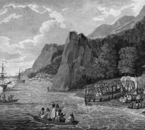 Desembarcament a l'illa de Nootka, a la costa sud-occidental de l'illa de Vancouver, a la Colúmbia Britànica del Canadà