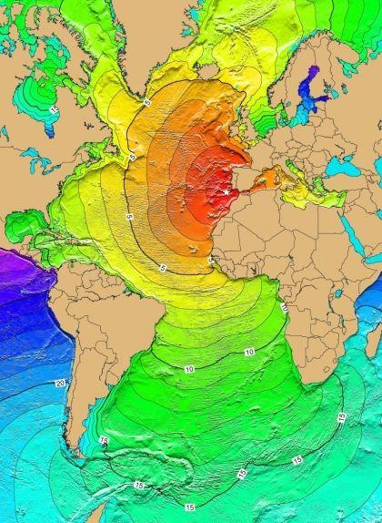 Epicentre i temps d'arribada del tsunami a terra