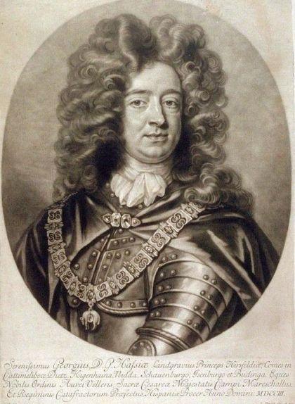 Jordi de Hessen-Darmstadt en un gravat fet per John Smith (1669-1705)