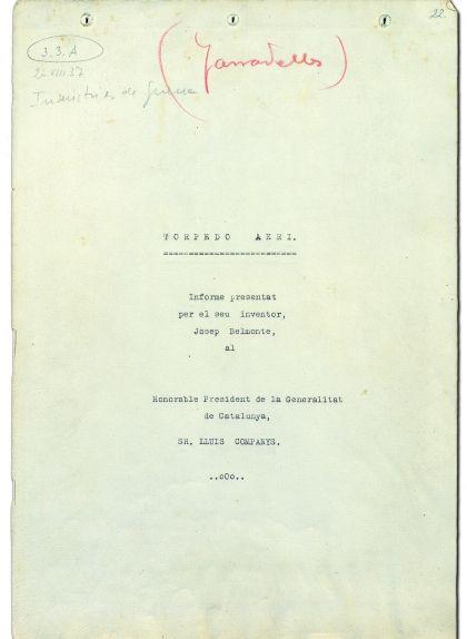 Portada de l'informe del torpede aeri que Josep Belmonte va enviar al president Lluís Companys