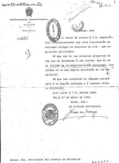Carta del municipi de Valls reclamant més autonomia per a Catalunya