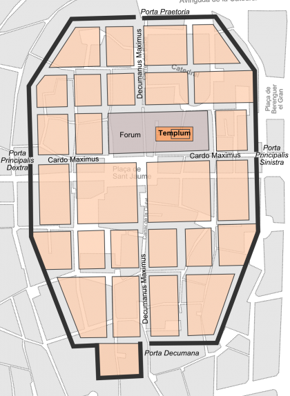 Plànol de la Bàrcino superposat al plànol actual del barri Gòtic