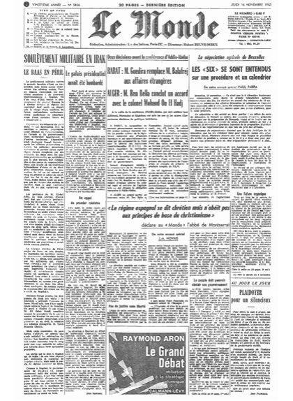El diari 'Le Monde' del 14 de novembre del 1963 amb les declaracions de l'abat Escarré
