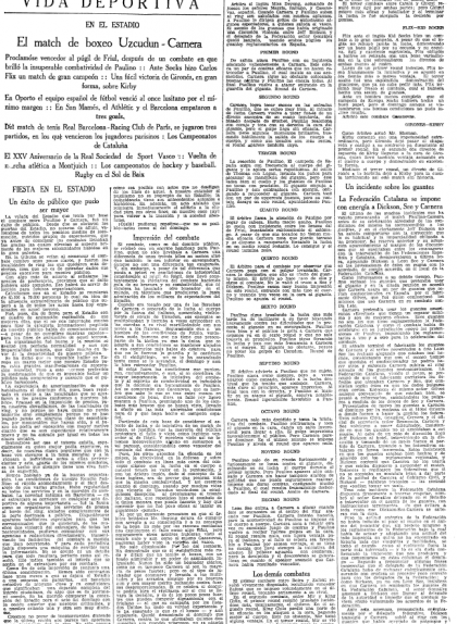 Secció esportiva de 'La Vanguardia' del 3 de desembre de 1930, on s'explica la victòria de Gironès contra Jack Kirby