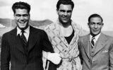 Martínez de Alfara, Max Schmeling i Josep Gironès el 1934, en en una imatge publicada a 'La Vanguardia' el 24 d'octubre de 2004